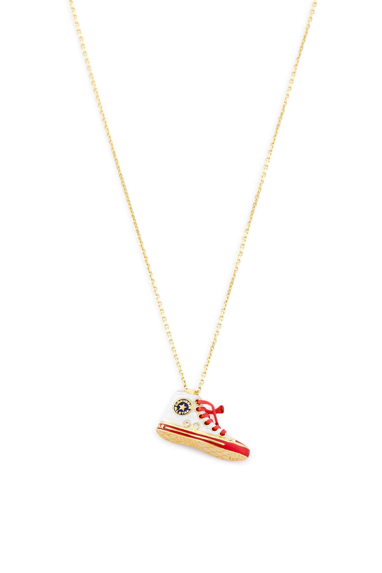 14K Gold and Diamond White Converse Necklace