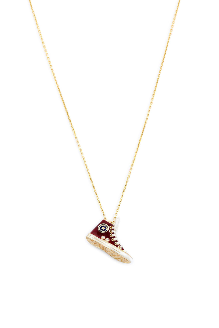 14K Gold and Diamond Red Converse Necklace