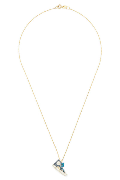 14K Gold and Diamond Grey Converse Necklace