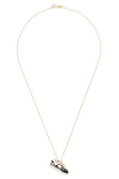14K Gold and Diamond Black New Balance Necklace