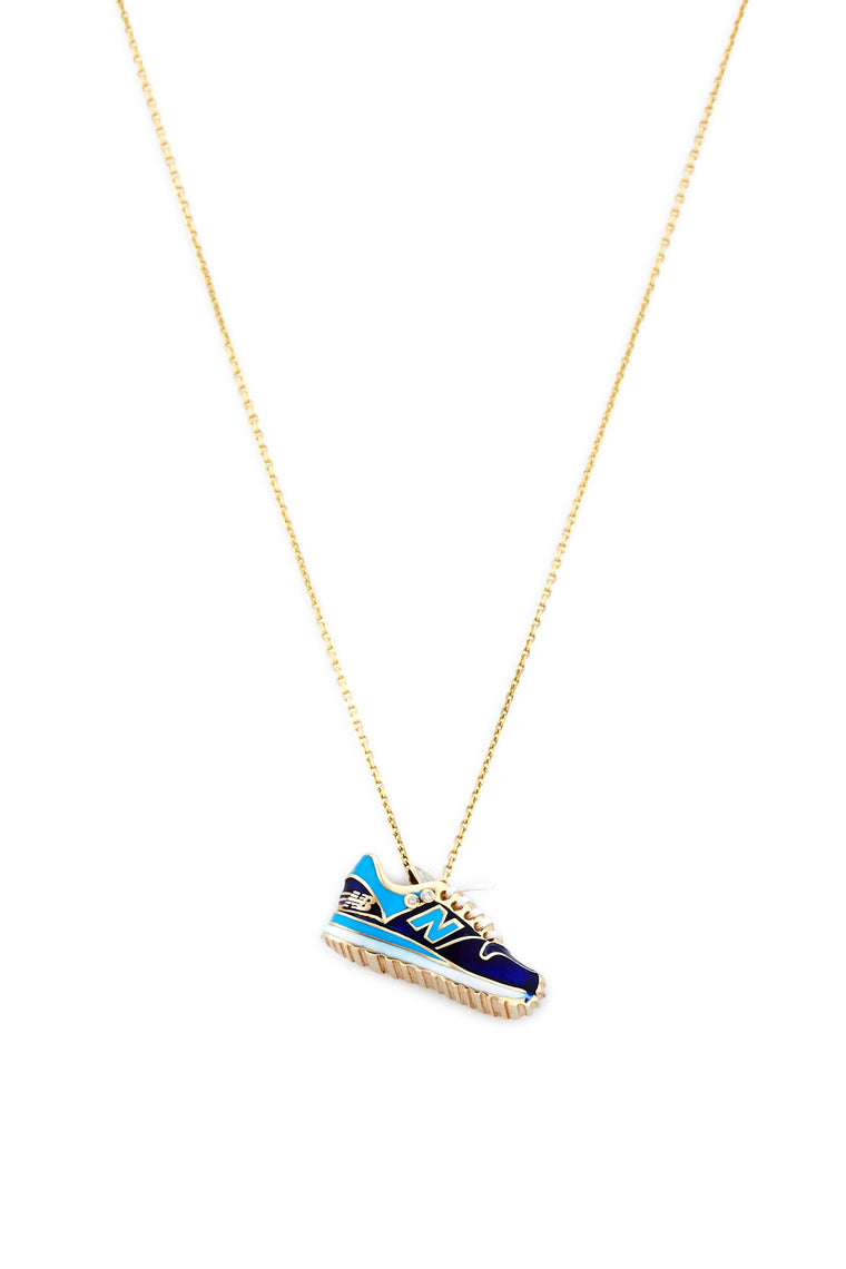 14K Gold and Diamond Blue New Balance Necklace