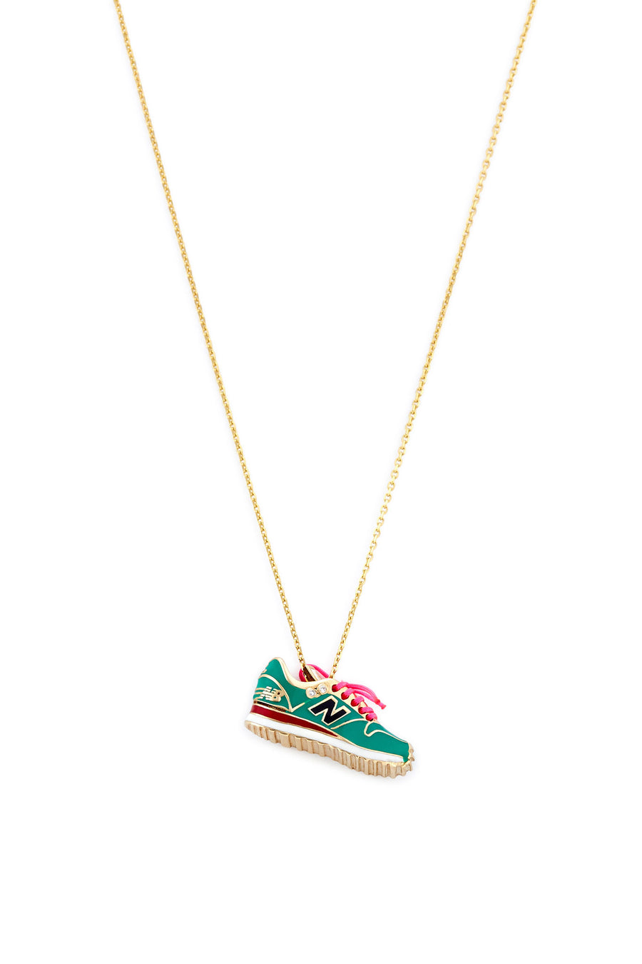 14K Gold and Diamond Green New Balance Necklace
