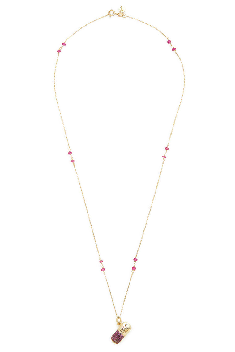 14K Gold and Ruby Happy Pill Necklace