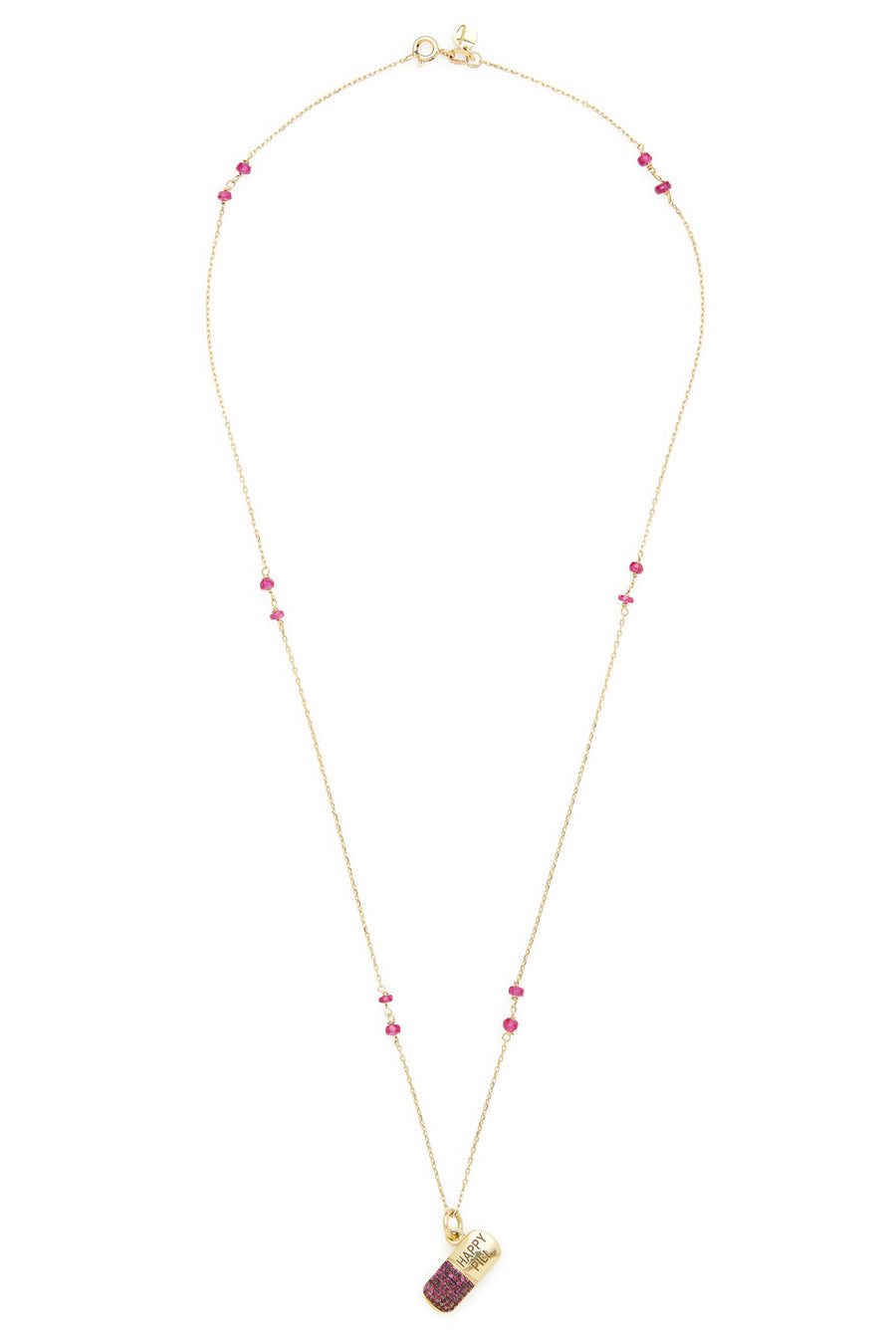 18K Gold and Ruby Happy Pill Necklace