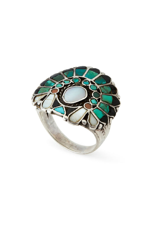 Sterling Silver Turquoise Multi Stone Chief Ring