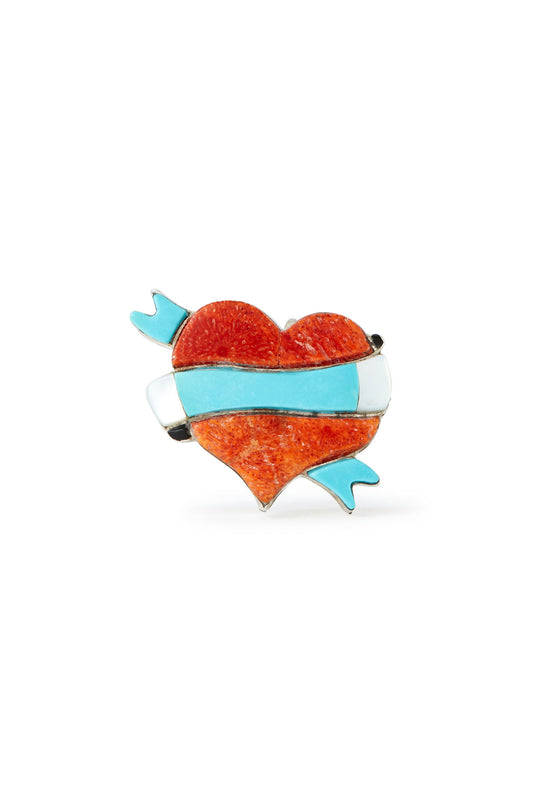 Stephen Lonjose Sterling Silver Turquoise and Coral Heart Pendant and Pin