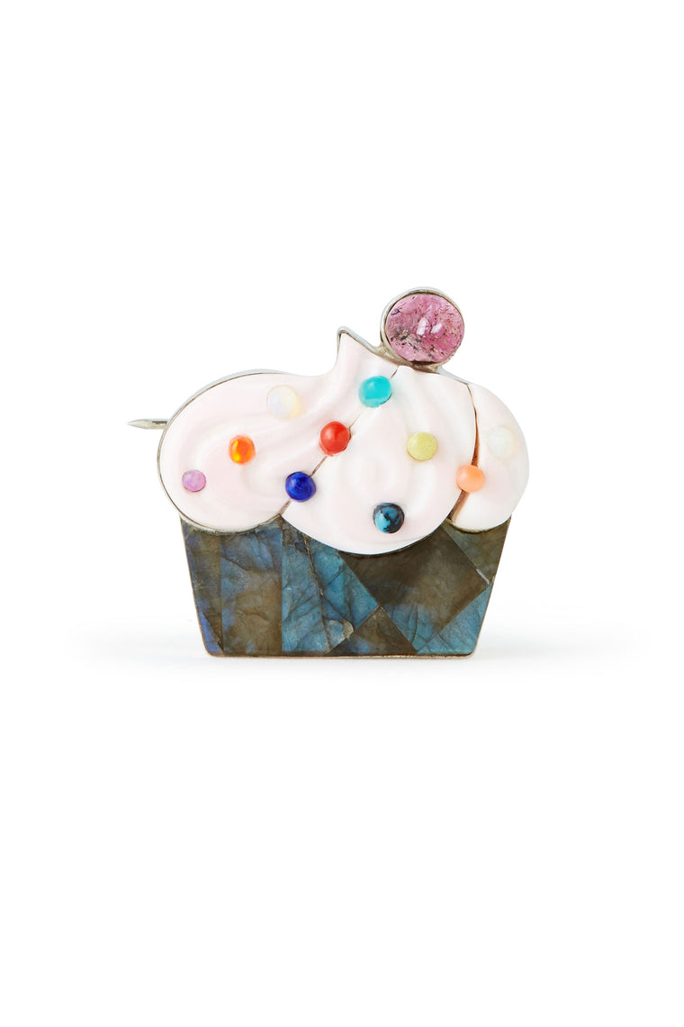 Veronica Poblano Sterling Silver and Carved Stone Cupcake Brooch