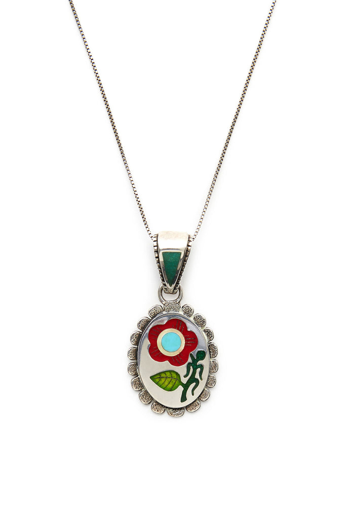 Sterling Silver Turquoise and Coral Inlay Flower Pendant
