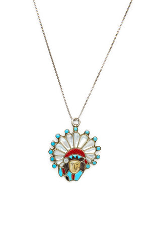 Sterling Silver Turquoise and Coral Chief Necklace