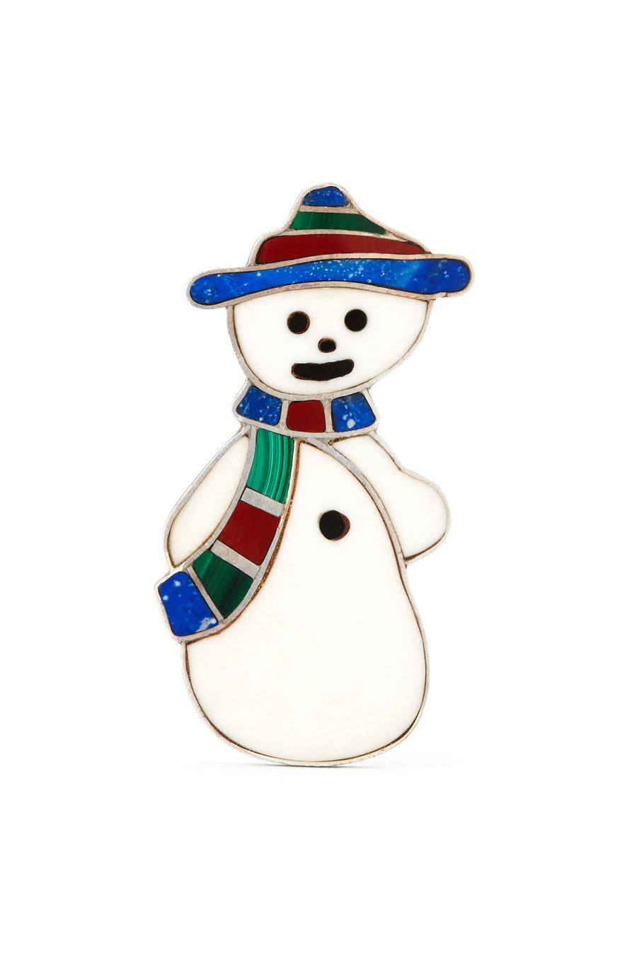 Sterling Silver Stone Inlay Snowman Pendant and Pin