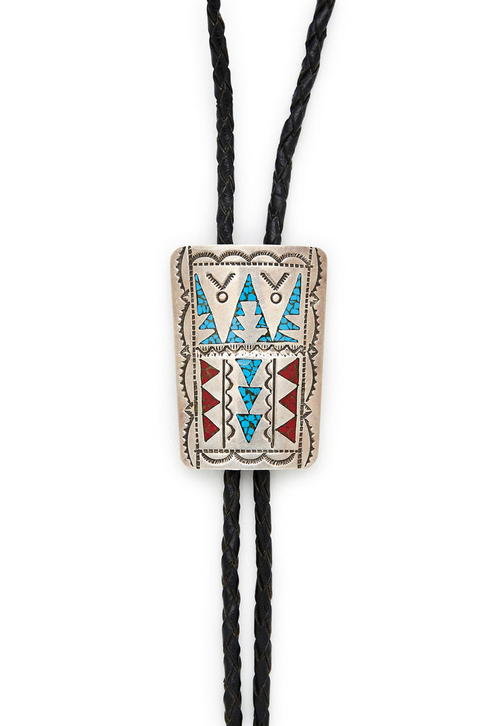 Navajo Sterling Silver Turquoise Coral Bolo Tie Necklace