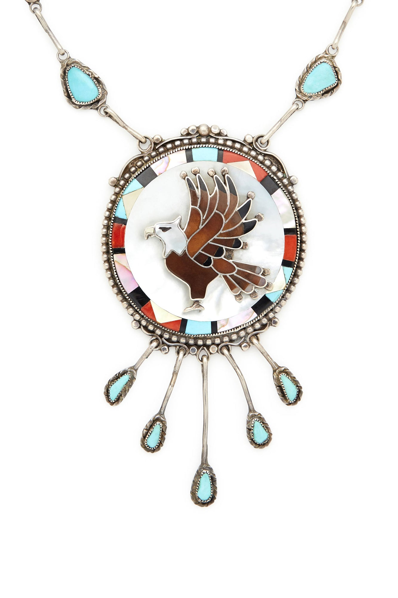 brass products cut photo hand charms mala this with suede is necklace on triple turquoise feather crafted pm gorgeous pendant eagle heart