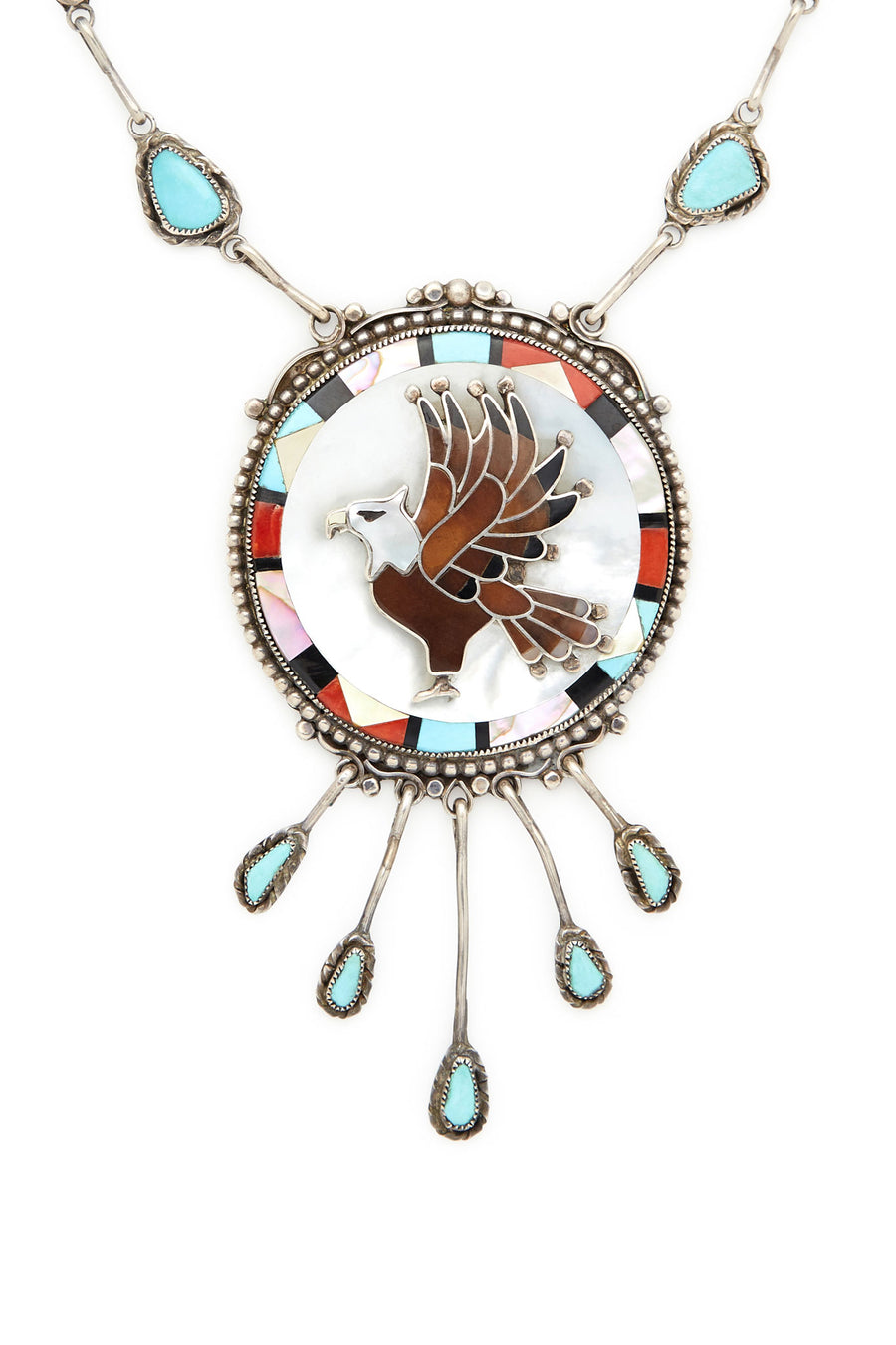 Sterling Silver Turquoise and Stone Eagle Necklace