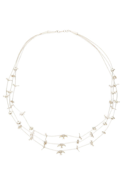 Sterling Silver Triple Bird and Animal Short Fetish Necklace