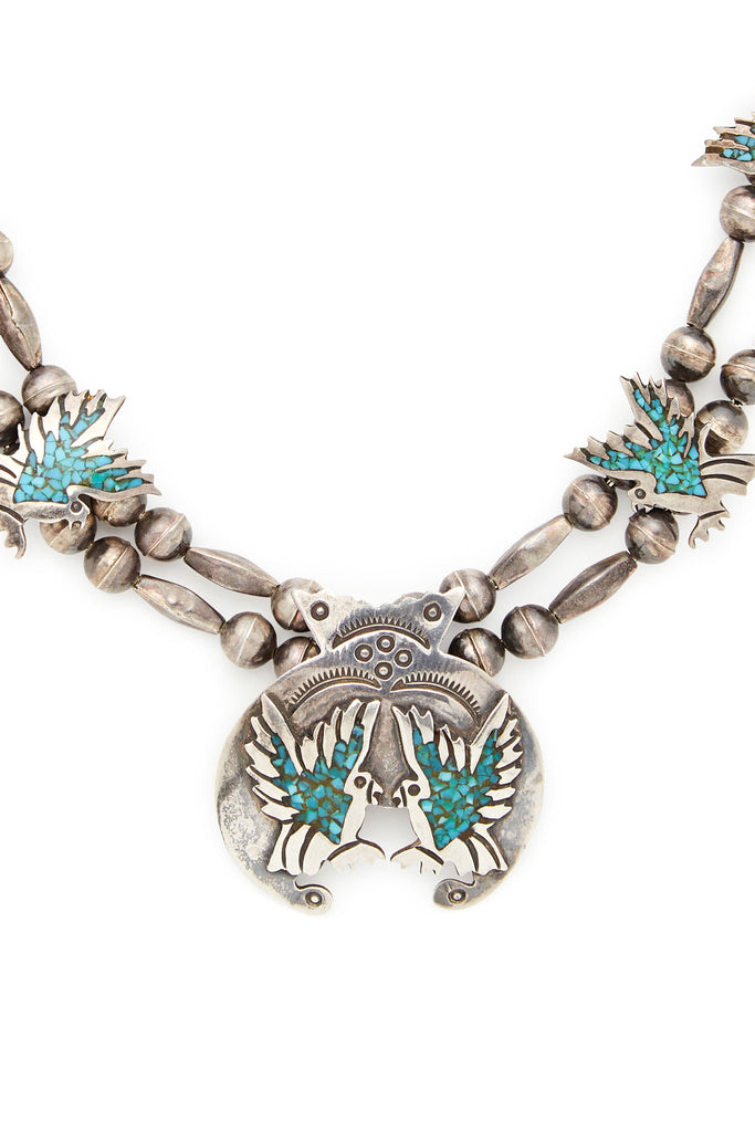 Sterling Silver Turquoise Eagles Squash Blossom Necklace