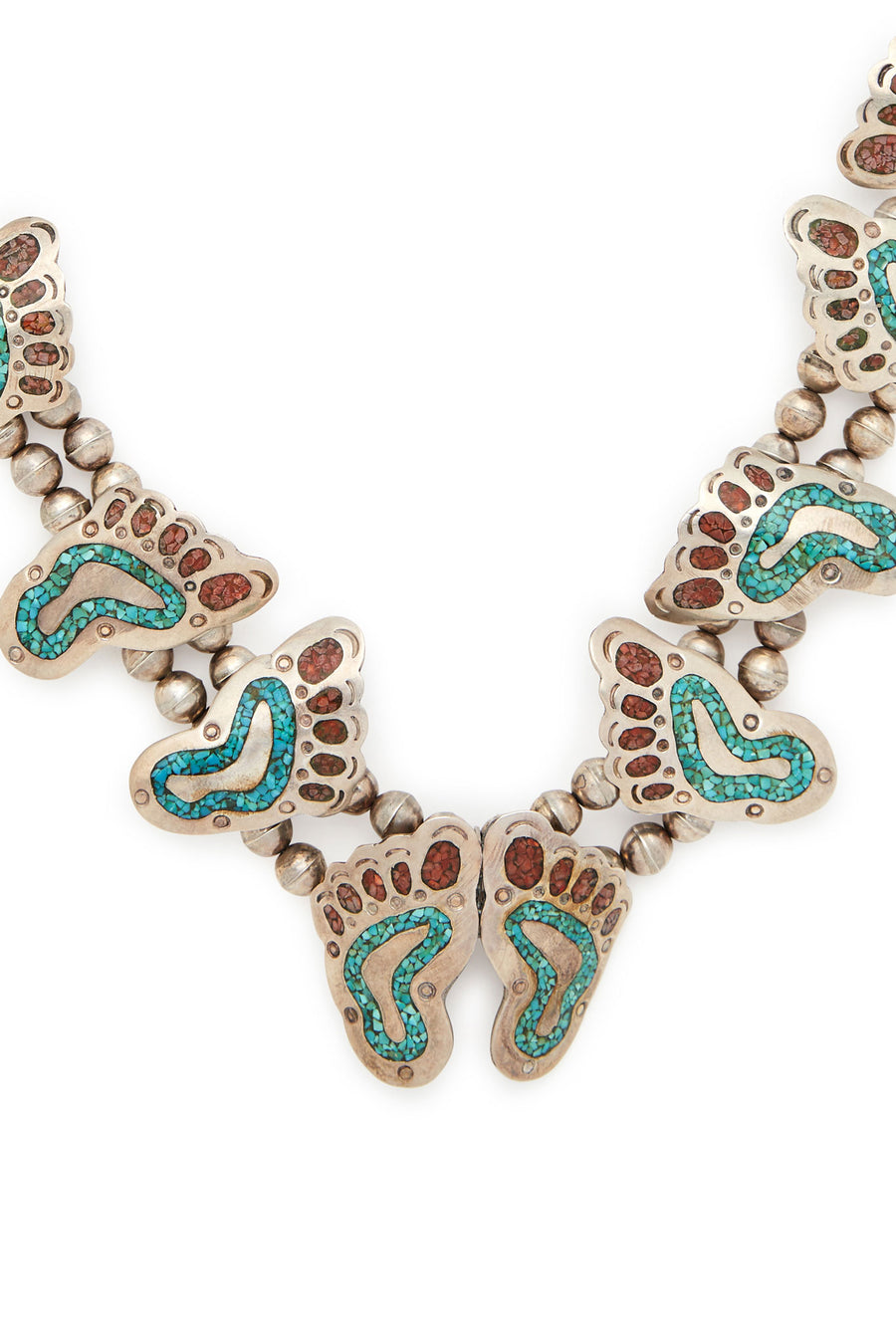 Zuni Sterling Silver Turquoise and Coral Feet Squash Blossom Necklace