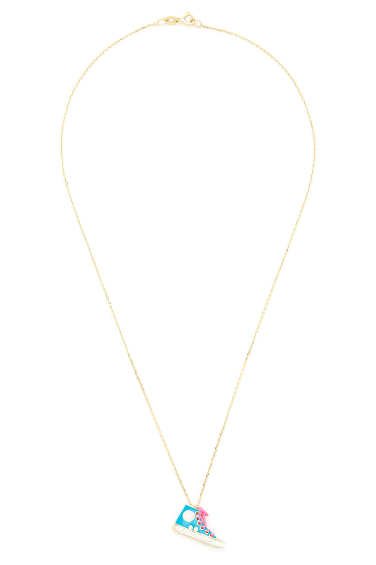 14K Gold and Diamond Turquoise Converse Necklace