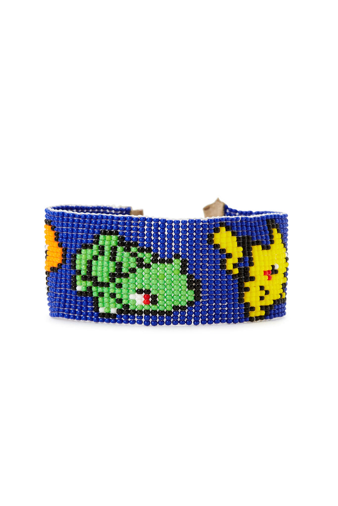 Blue Beaded Mario Bros Bracelet