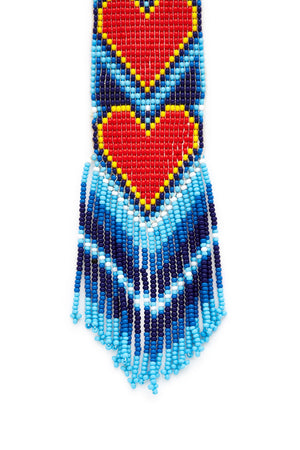 Turquoise Long Beaded Heart Necklace
