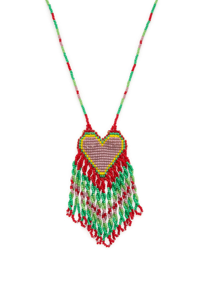 Red Beaded Heart Necklace