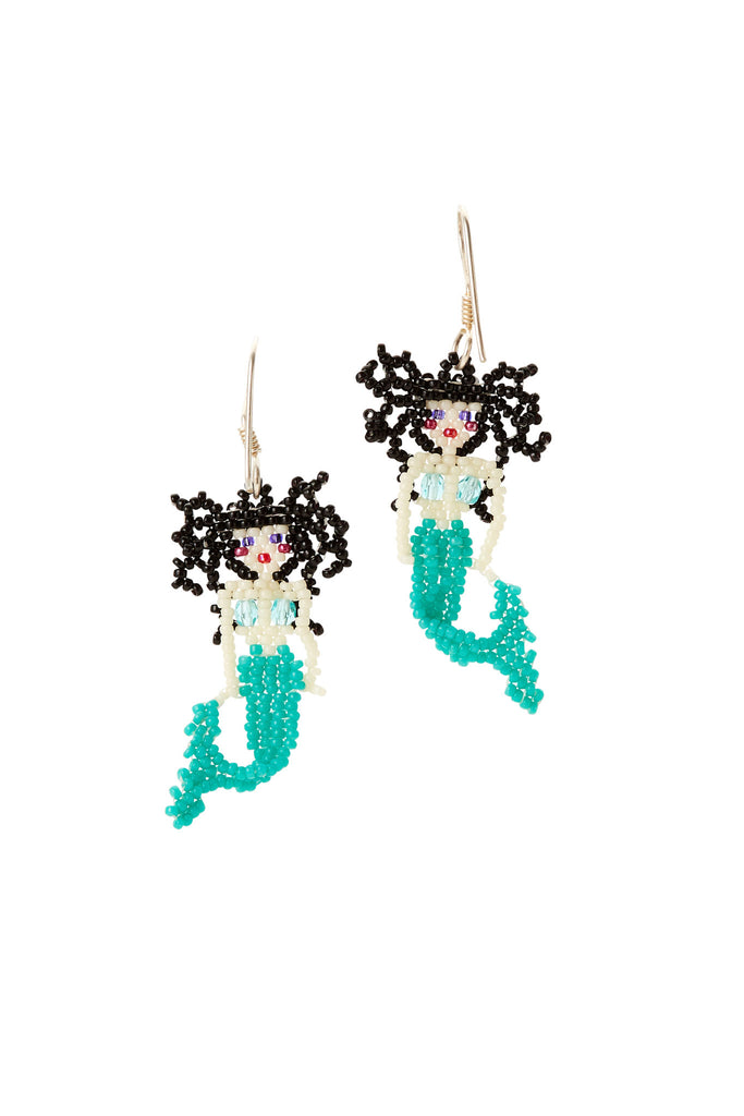 Black Hair Mermaid Beaded Earrings
