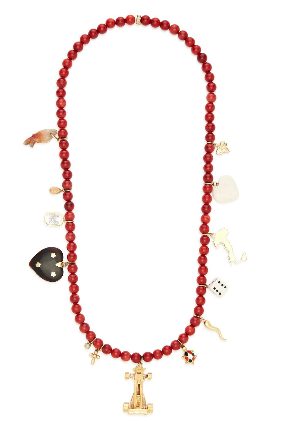 18K Gold and Red Isid Stone Lotus Race Car Recharmed Necklace