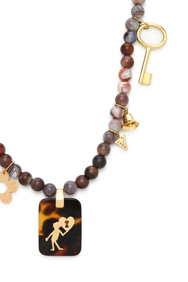 18K Gold and Sunset Stone Key to Heart Recharmed Necklace