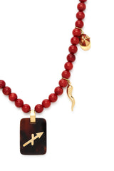 18K Gold and Red Isis Stone Arrow Recharmed Necklace