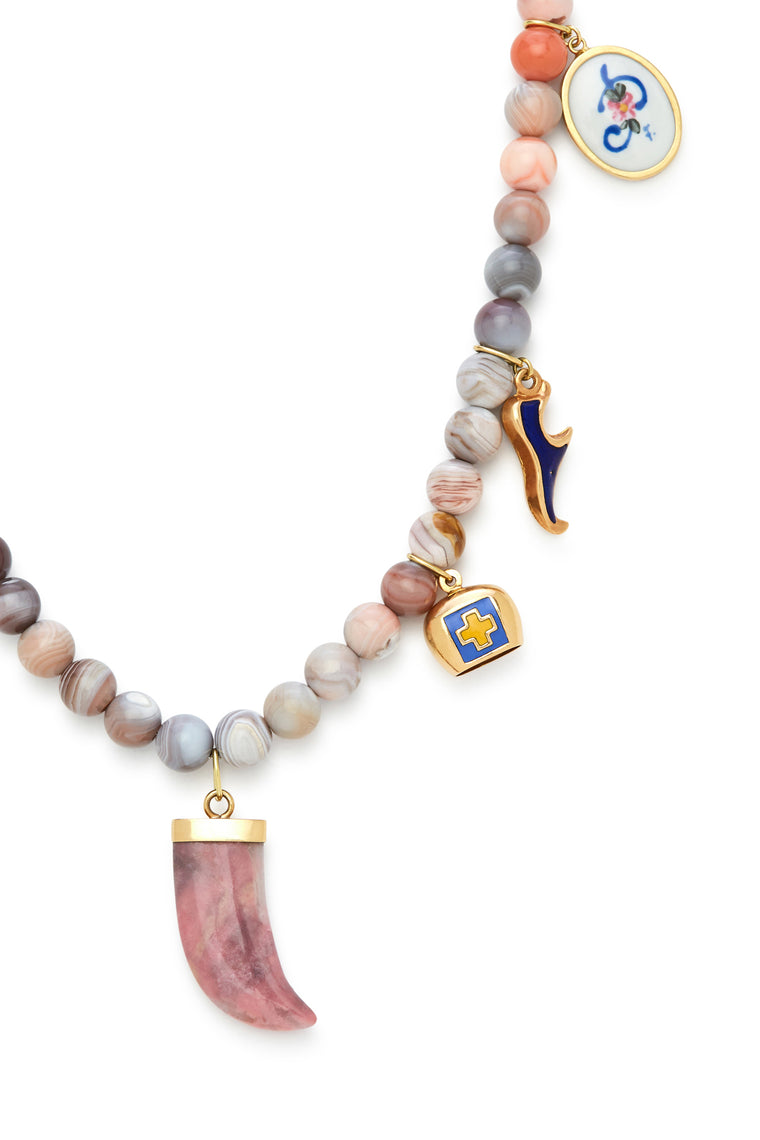 18K Gold and Sunset Stone Pink Horn Recharmed Necklace