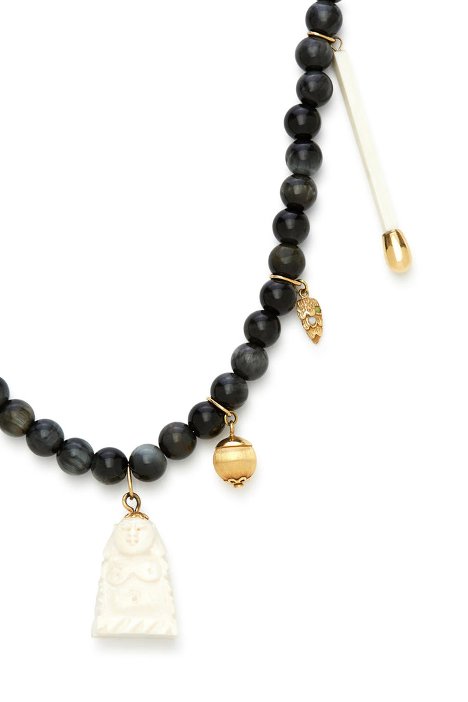 18K Gold and Eagle Eye Stone Buddha Recharmed Necklace