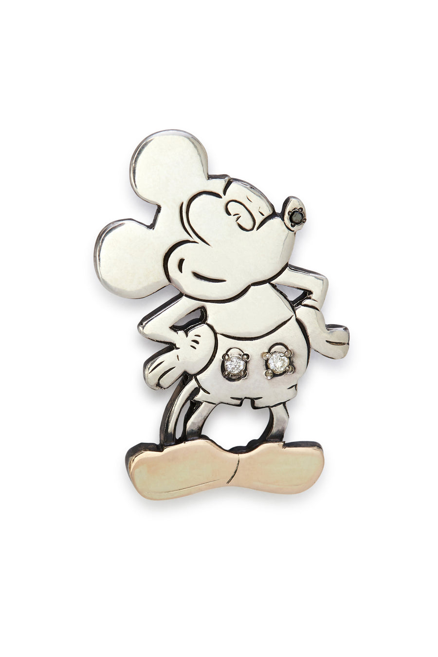 Sterling Silver and Diamond Mickey Brooch