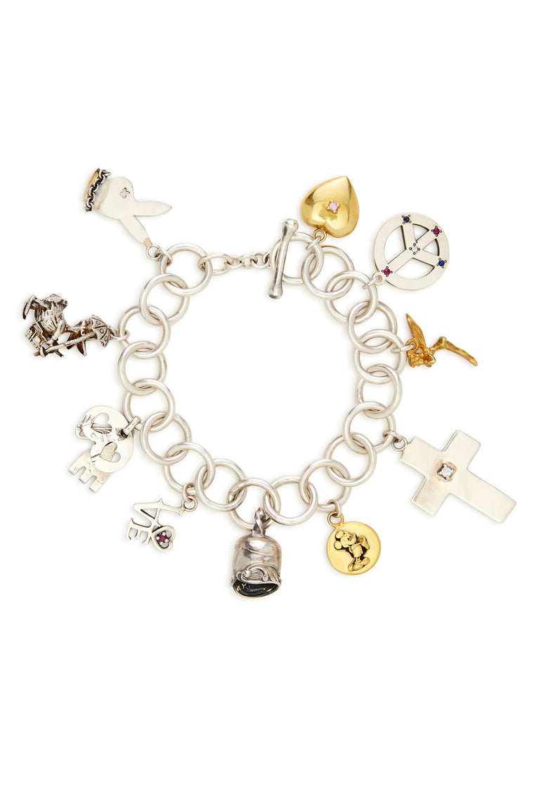 Sterling Silver and Gold Mickey Charm Bracelet