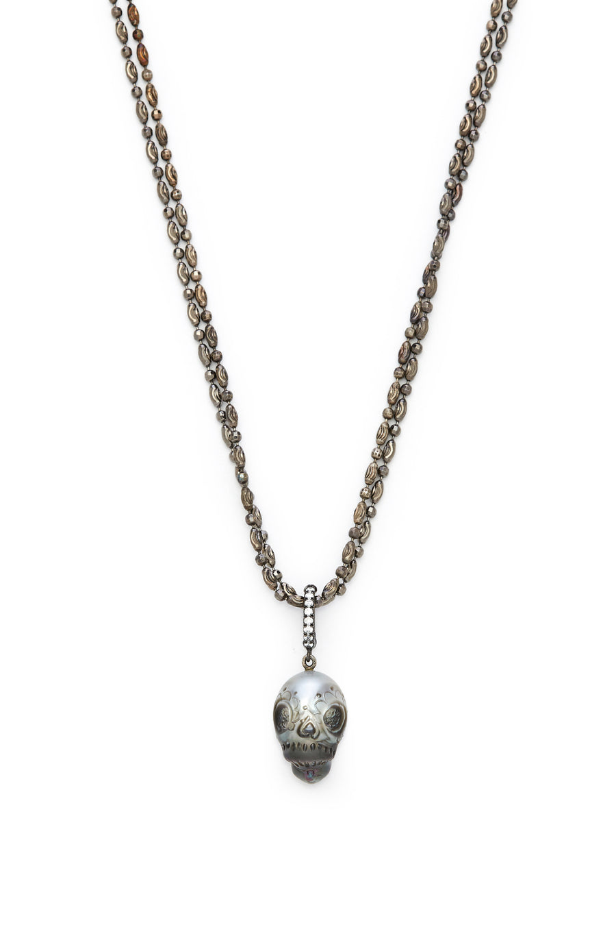 Sugar Skull Tahitian Pearl with Diamonds Necklace