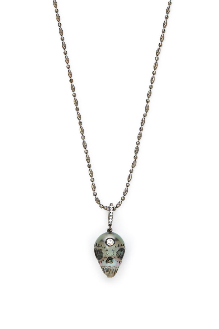 Tahitian Pearl Skull with Diamonds Necklace