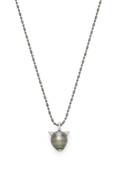 Tahitian Pearl with Diamond Devil Horns Necklace
