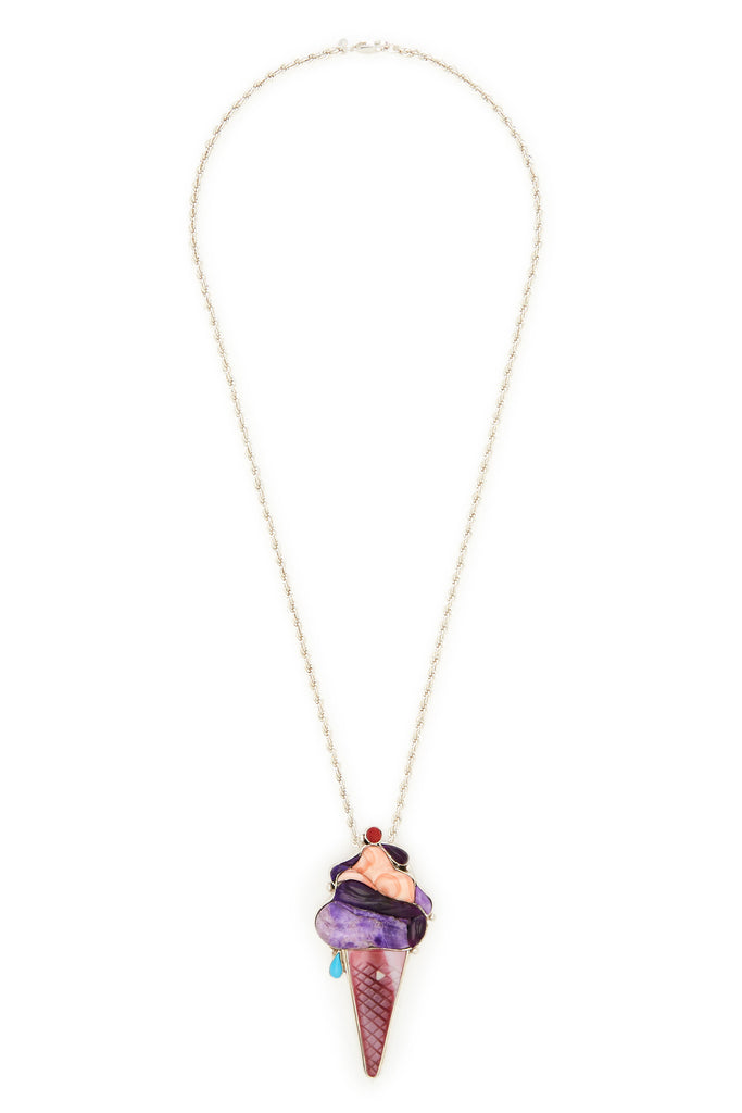 Veronica Poblano Sterling Silver Purple Multi-Stone Ice Cream Necklace
