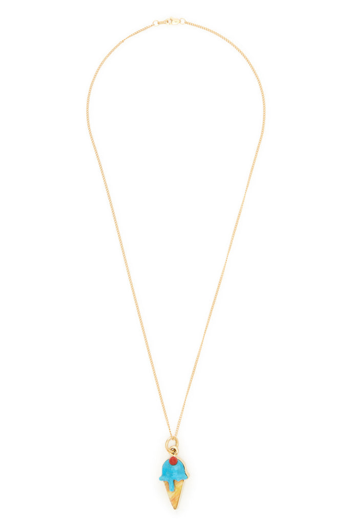 Veronica Poblano 18K Gold and Blue Drip Multi-Stone Ice Cream Necklace