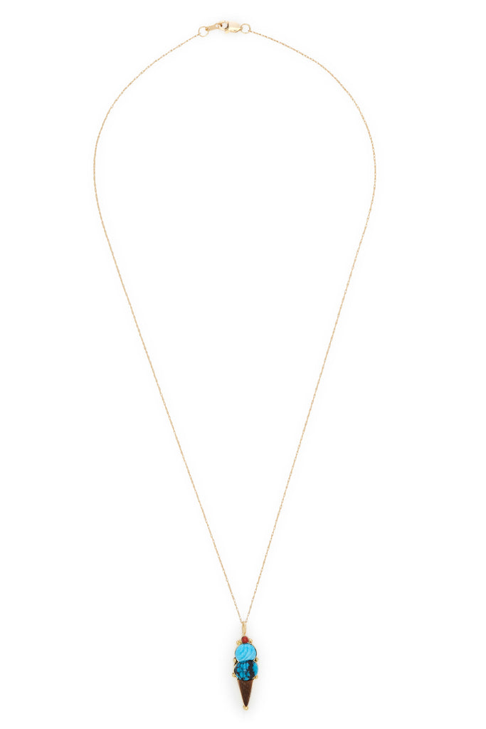 Veronica Poblano 18K Gold Mini Blue Ice Cream Necklace