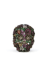 18K Darkened White Gold and Diamond Skull Multi-Stone Ring