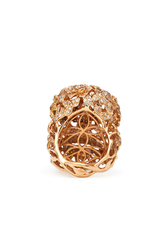 18K Gold and Multi-Color Diamond Skull Ring