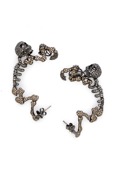 18K Darkened White Gold and Diamonds Skeleton Earrings