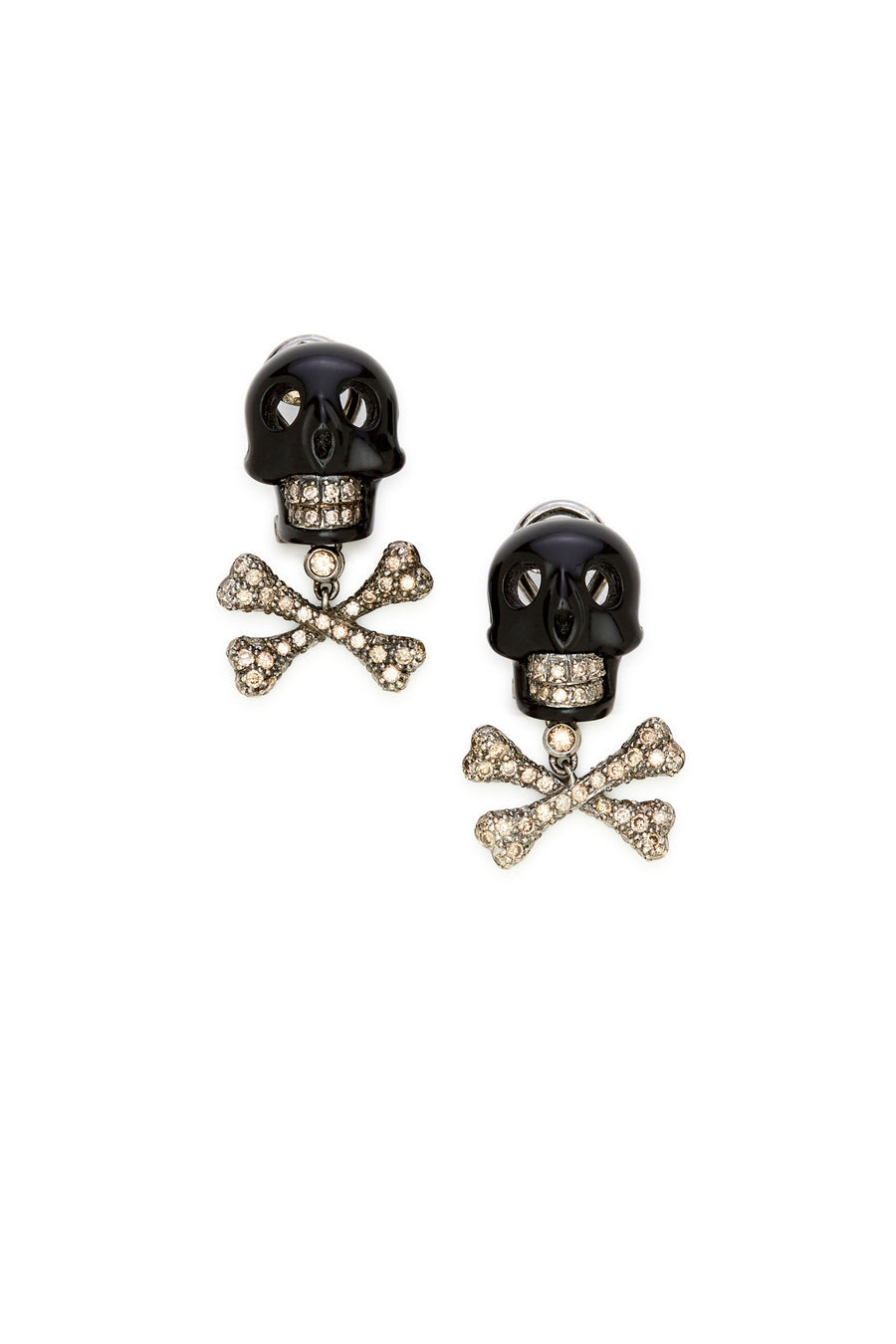 18K White Gold and Black Agate Skull with Diamonds Earrings