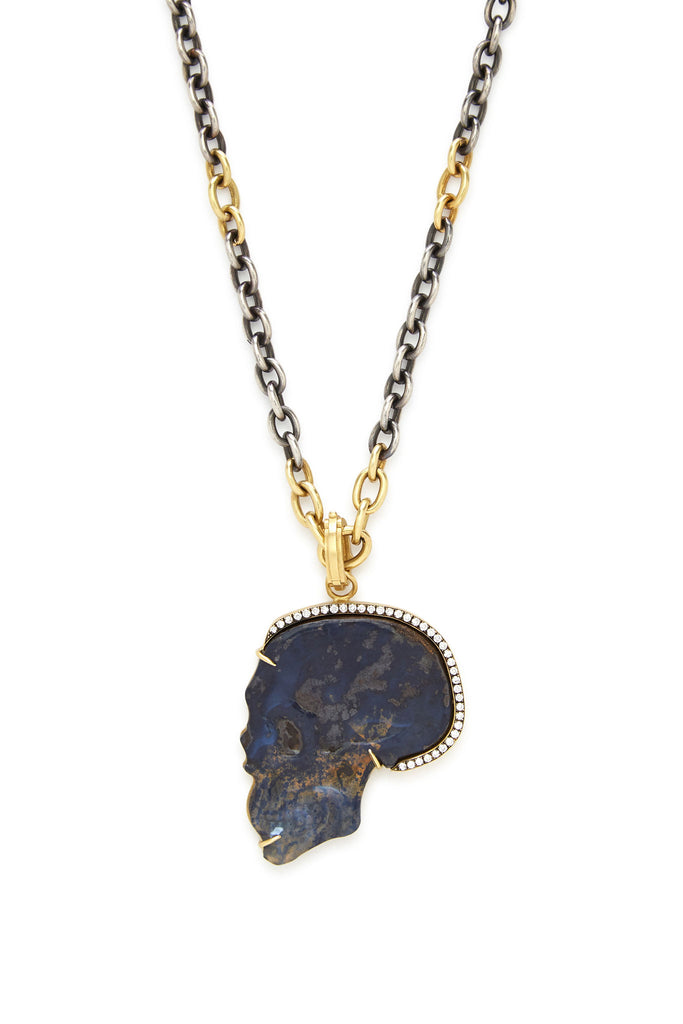 18K Gold Carved Opal and Diamond Large Skull Pendant
