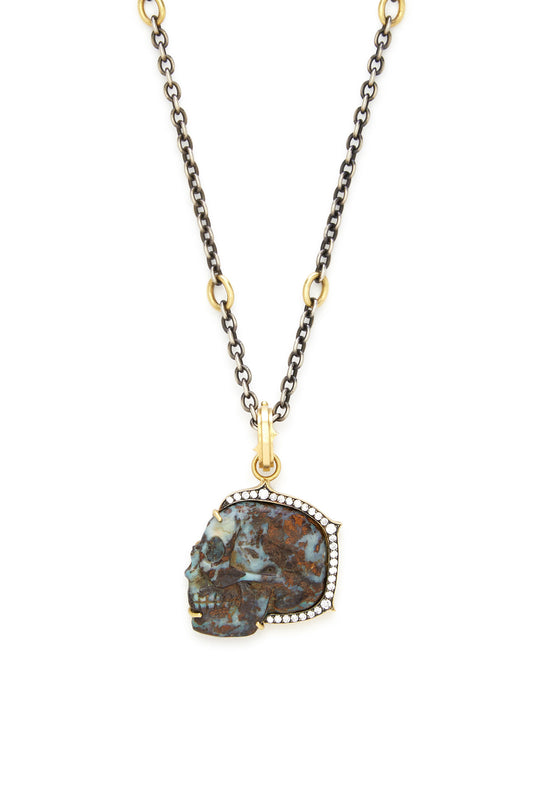 18K Gold Carved Opal and Diamond Small Skull Pendant