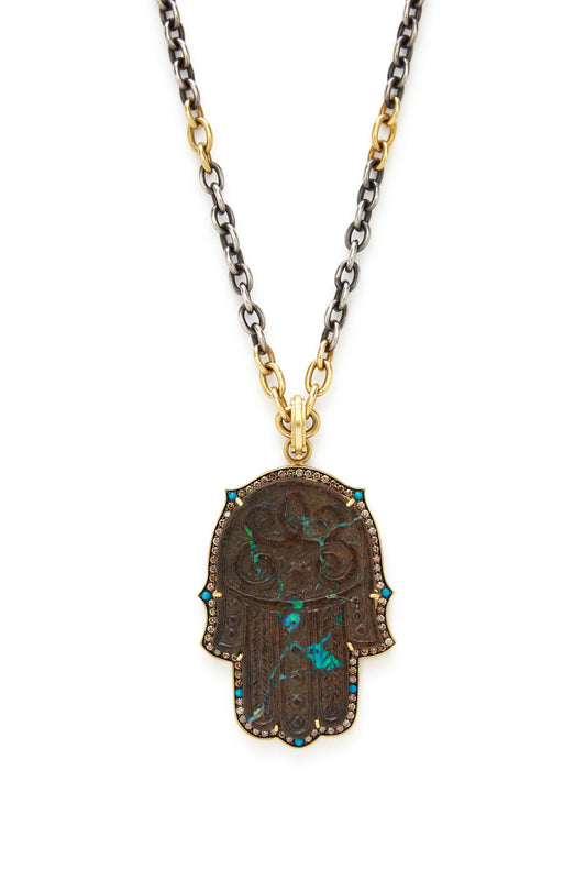 18K Gold Carved Opal and Turquoise Large Hamsa Pendant
