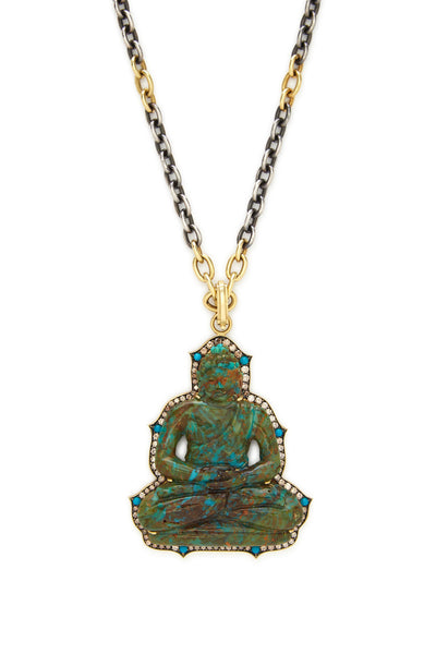 18K Gold Carved Turquoise and Diamond Large Buddha Pendant