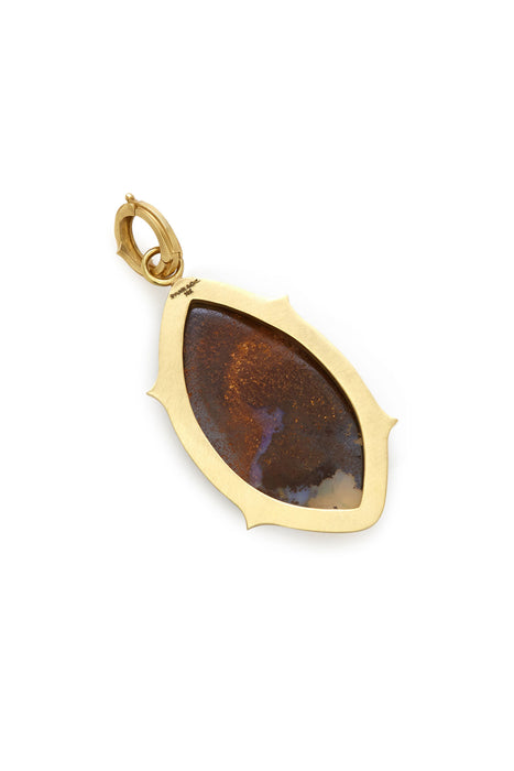 18K Gold Carved Opal and Diamond Small Evil Eye Pendant