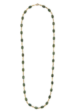"18K Gold and Cats Eye Opal Bead 34"" Necklace"