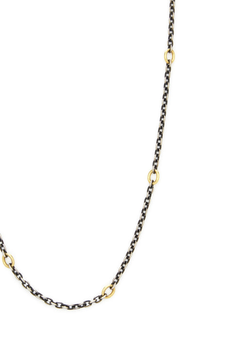 "18K Gold and Sterling Silver Link 36"" Chain Necklace"