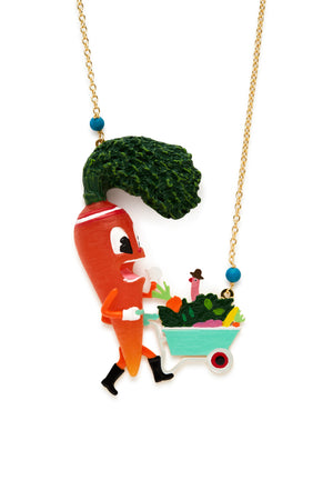 Carrot with Veggie Basket Necklace